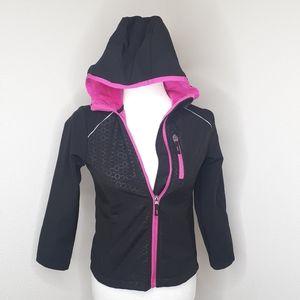 Girls Jacket Pink Black Free Country Zipper Hoodie